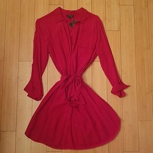 Red Buttom Up TopShop Dress
